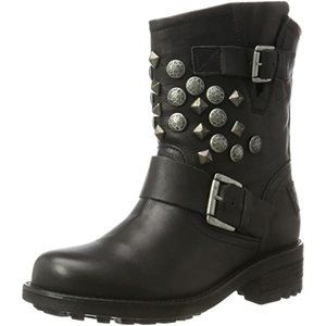 BULLBOXER Edgy Genuine Leather Moto Boots